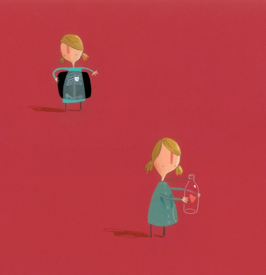 女孩為了保護心不要受傷,把心裝在胸口前的瓶子裡。 (image credit: Oliver Jeffers/The Heart and the Bottle)